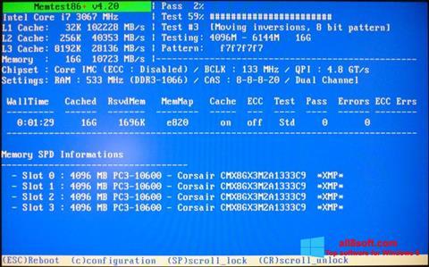 Screenshot MemTest per Windows 8