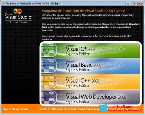 Screenshot Microsoft Visual Studio per Windows 8
